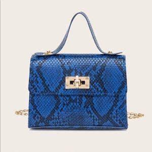 Handbags - Snakeskin Print Twist Lock Satchel Bag